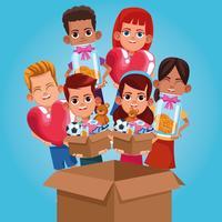 Fumetto di donazione e beneficenza per bambini