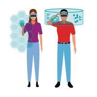 Tecnologia di realtà virtuale vettore