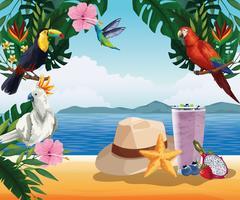 Vacanze estive e cartoni animati sulla spiaggia vettore