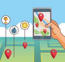 Cartoni animati per giochi per smartphone vettore