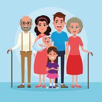 Famiglia con cartoni animati per bambini