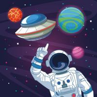 Astronauta nel cartone animato galassia vettore
