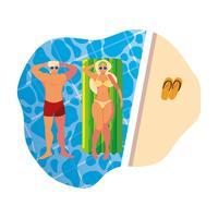 giovane coppia con materasso galleggiante in piscina