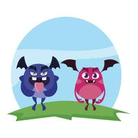 mostri divertenti coppia nel campo personaggi colorati
