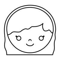 icona del volto di donna fumetto vettore