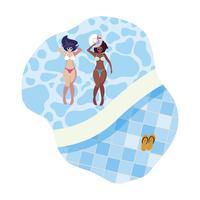 coppia di ragazze interrazziali con costumi da bagno galleggianti in piscina