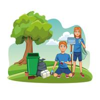 Volontari di pulizia del parco