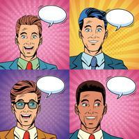 Pop art sorpreso uomini d'affari affronta il fumetto