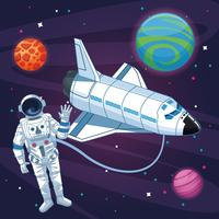 Astronauta nel cartone animato galassia