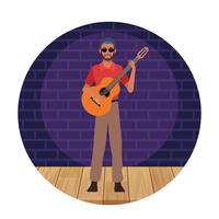 Cartone animato artista musicista vettore