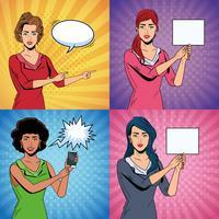 Set di donne pop art vettore