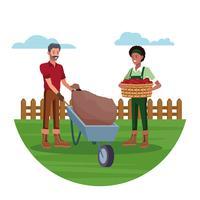 Gli agricoltori che lavorano in cartoni animati agricoli vettore