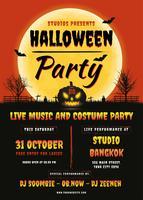 Manifesto del partito di Halloween. Design volantino vettore