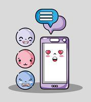 smartphone con messaggio di chat e emoji