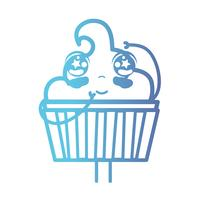 linea kawaii simpatico muffin dolce felice vettore