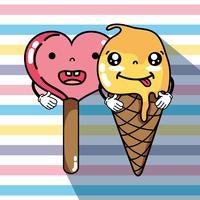 espressione di facce di gelato kawaii vettore