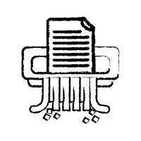 figura ufficio macchina trituratore carta design vettore