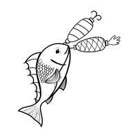linea di pesce che morde l'oggetto filatore per catturarlo