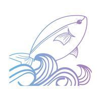 linea pesce animale nel mare con onde design