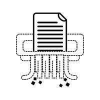 design della macchina per distruggidocumenti per ufficio di forma punteggiata vettore