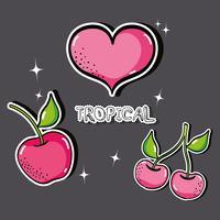 delizioso disegno di frutta con toppe tropicali vettore