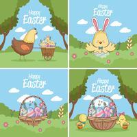 Collezione di carte di buona Pasqua