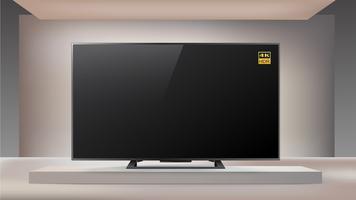 Smart TV LED 4K di nuova generazione in background illuminato da studio vettore
