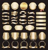 Etichette e distintivi dorati premium di lusso vettore