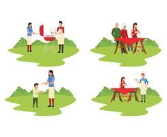 Picnic in famiglia con barbecue