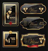Collezione di etichette di vini d'oro vettore