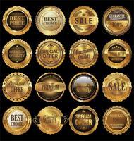 Vendita d'oro etichette retrò collezione design vintage vettore