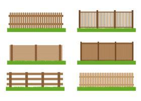 Raccolta degli elementi stabiliti di vettore del recinto di legno per progettazione isolata su fondo bianco