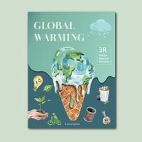 Riscaldamento globale e inquinamento. La campagna pubblicitaria dell'opuscolo dell'aletta di filatoio del manifesto, conserva la progettazione del modello del mondo, progettazione creativa dell'illustrazione di vettore dell'acquerello