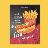 Progettazione del manifesto del fast food per l'alimento appetitoso di sembrare del ristorante della decorazione, progettazione del modello, progettazione creativa dell'illustrazione di vettore dell'acquerello