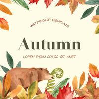 Cornice stagione autunnale con foglie e animali. Cartoline d'auguri di autunno perfette per la stampa, invito, modello, progettazione creativa dell'illustrazione di vettore dell'acquerello
