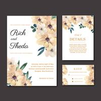 Matrimonio felice della carta dell'invito del giardino floreale della partecipazione di nozze, dettaglio di rsvp. spazio disposizione ornamento vintage bella, disegno ad acquerello modello illustrazione vettoriale raccolta