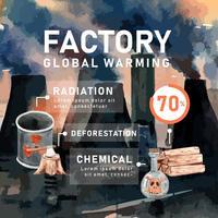 Il riscaldamento globale e l'inquinamento, salvano il mondo, la statistica dei dati di Infographic presente, la progettazione creativa del modello dell'illustrazione di vettore dell'acquerello