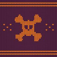 Cranio lavorato a maglia con ossa, maglione per halloween e natale