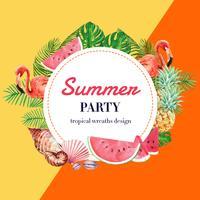 Vacanze estive pubblicitarie. promuovere lo sconto di vendita. tempo di shopping di vacanza, progettazione creativa dell'illustrazione di vettore dell'acquerello