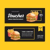 Alimento dell'antipasto del menu di ordine di sconto del buono del GIF del fast food, progettazione del modello, progettazione creativa dell'illustrazione di vettore dell'acquerello