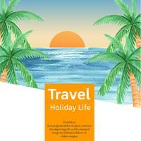 Media sociali Viaggiano in vacanza estiva la spiaggia Palma vacanza, mare e cielo luce solare, disegno creativo illustrazione vettoriale ad acquerello