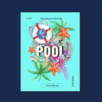 Viaggia in estate in vacanza il manifesto di vacanza della palma della spiaggia, la luce solare del mare e del cielo, progettazione creativa dell'illustrazione di vettore dell'acquerello