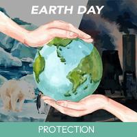 Riscaldamento globale e inquinamento. La campagna pubblicitaria di media sociali, salva la progettazione del modello del mondo, progettazione creativa dell'illustrazione di vettore dell'acquerello