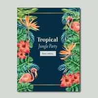 Estate tropicale di progettazione del manifesto con il fogliame esotico, progettazione creativa del modello dell'illustrazione di vettore dell'acquerello delle piante
