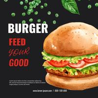 Disegno del menu del ristorante fast food. Pagina l'alimento dell'antipasto della lista del menu del fondo del confine, progettazione del modello, progettazione creativa dell'illustrazione di vettore dell'acquerello