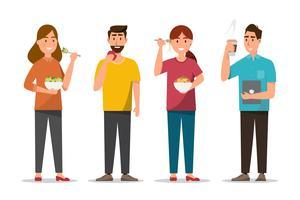 persone che mangiano cibi sani e fast food di diverso carattere