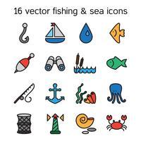 Icone isolate di pesca e marine messe vettore