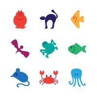 Set di icone di animali vettore