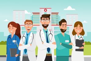 Set di personaggi dei cartoni animati medico. Concetto del gruppo del personale medico davanti all'ospedale