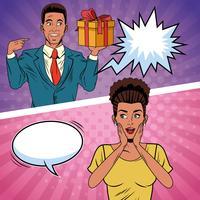 cartone animato regalo coppia pop art